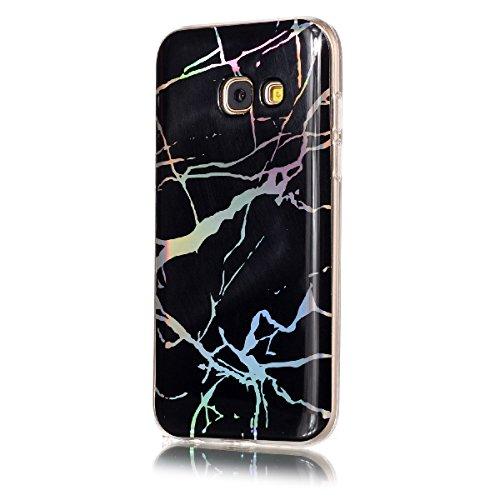 Funda Samsung Galaxy A5 2017, WE LOVE CASE Ultra Fina Slim Suave Funda Mármol Samsung A5 2017 Silicona Cubierta Clear Cover Original Flexible Gel Dibujos Anti Rasguños Choque con Diseño Protectora Res Black