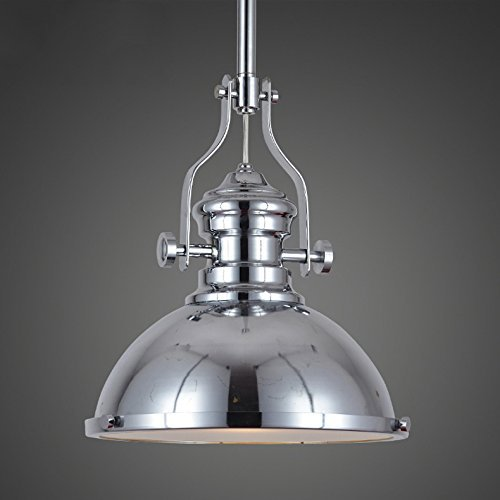 Industrial Polished Nickel One-Light Pendant Lamp-Litfad One light Iron Pendent Light Mounted Fixture in Chrome