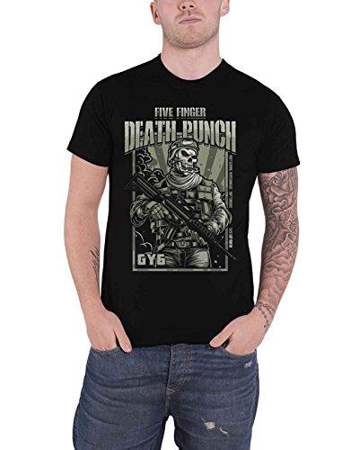 Five Finger Death Punch T Shirt War Soldier Band Logo Official Mens Black Size L