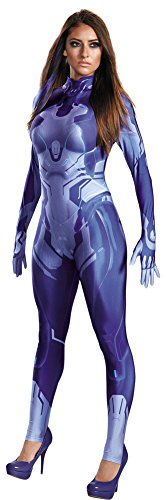 Cortana Costumes (Womens Halloween Costume- Cortana Adult Bodysuit Adult Costume Medium 8-10)