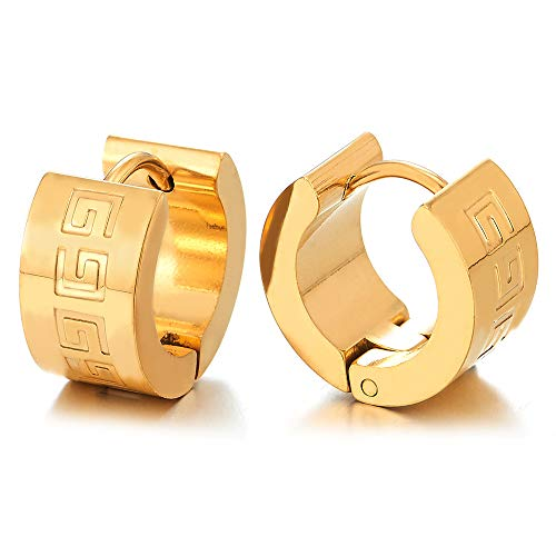 - Pair Men Boys Stainless Steel Gold Color Huggie Hinged Hoop Earrings with Greek Key Pattern