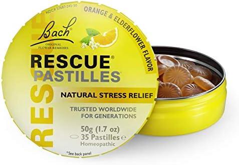 RESCUE PASTILLES, Homeopathic Stress Relief, Natural Orange & Elderflower Flavor – 35 Pastilles 41O9P0nRRFL