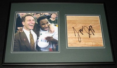 cae30cb678a4 Coach Tom Izzo Signed Framed Floorboard   Photo Display Michigan State MSU  - Autographed College Floorboards