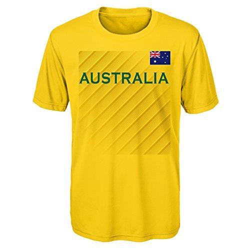 Outerstuff International Soccer Australia Adult Men One Team Performance Short Sleeve Tee, X-Large, Bright Yellow