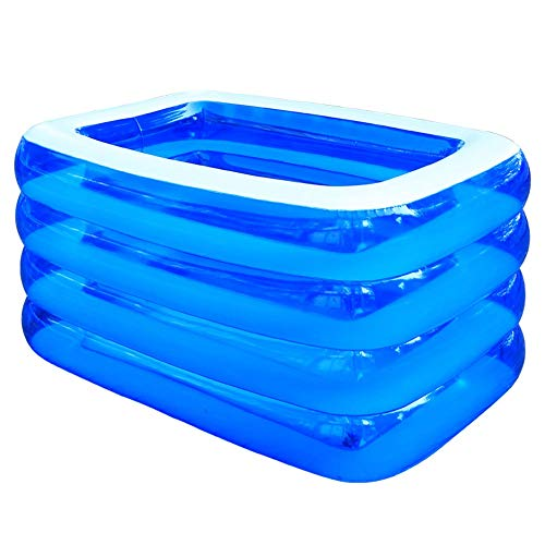 Szblk Inflatable Large Swimming Pool Children's Paddling Pool Home Pool Thickening Insulation Pool 4 Layer Solid Color Swimming Pool (82.67in55.11in29.52in)