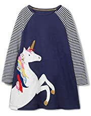 AmzBarley Girls Unicorn Stripes Patchwork Style Long Sleeve Dress Cotton Blouse Jersey Outfit for Girls Fashion Universe 2-6 Years
