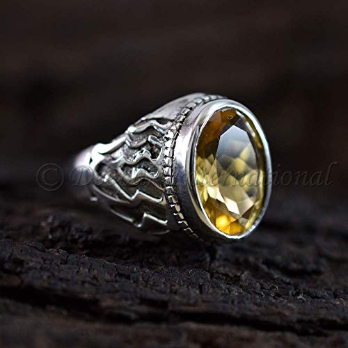 Yellow Citrine Men's Ring Solid 925 Sterling Silver Man's Ring Designer Statement Jewellry Ring Oval Shape Faceted Cut Gemstone Ring Handmade Ring Valentine's Day Gift ()