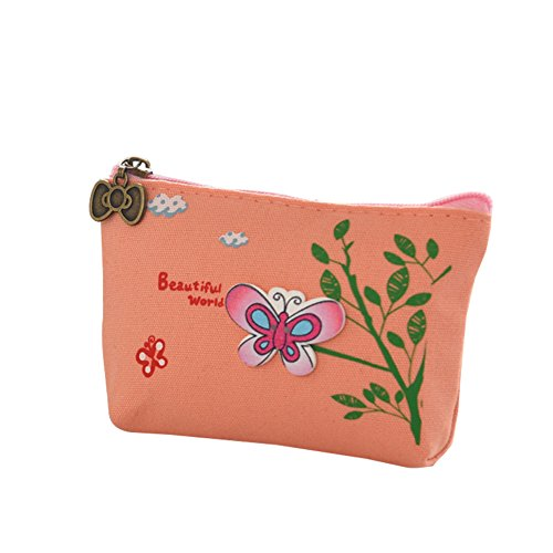 Kanggest Mujer Bolso Patrón de mariposa Cremallera de almacenamiento billetera/Monedero/Bolso de la señora/Cartera mujer pequeña Bolso Rose