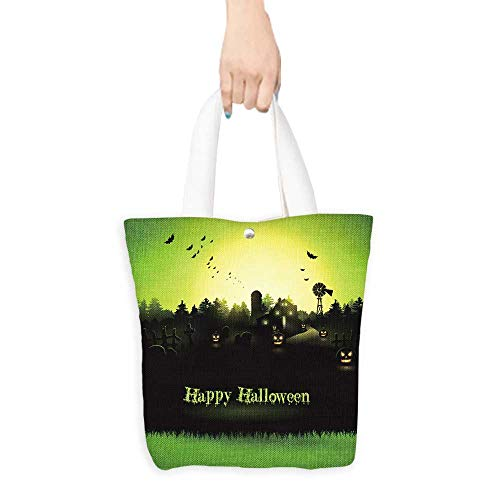 Portable Shopping Bag Haunted farmhouse in the woods Halloween greeting card (W15.75 x L17.71 Inch)]()