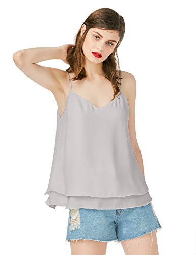 Layered Chiffon (ZAN.STYLE Women's Spaghetti Strap V Neck Flowy Chiffon Layered Cami Tank Top (Grey, S))