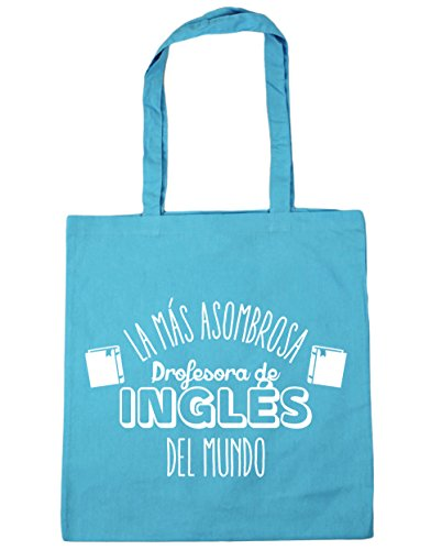HippoWarehouse La más Asombrosa Profesora de Inglés del Mundo Bolso de Playa Bolsa Compra Con Asas para gimnasio 42cm x 38cm 10 litros capacidad Azul Celeste