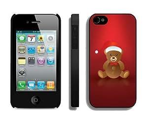 Popular Design Lovely Christmas Bear Black iPhone 4 4S Case 1