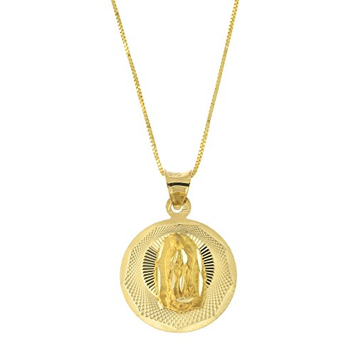 Solid 14k Yellow Gold Diamond Cut Our Lady of Guadalupe Medal Pendant Necklace, 18