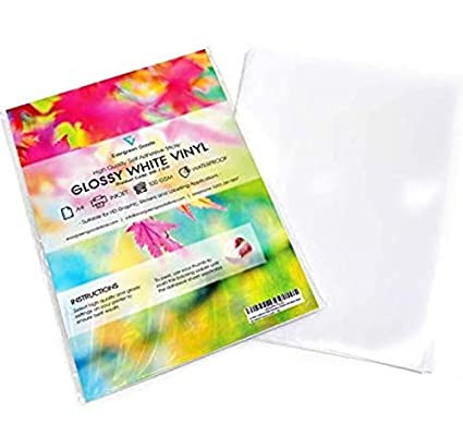 graphic about Transparent Printable Vinyl titled 20 Sheets White Water-resistant A4 Vinyl Matt Self Adhesive