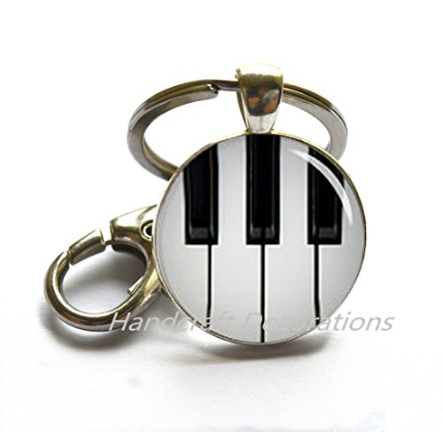 (Piano Keychain Black and White Keyboard Key Ring - Music Jewelry - Glass Dome Art Key Ring,photo Key Ring art Key Ring photo jewelry.F072)