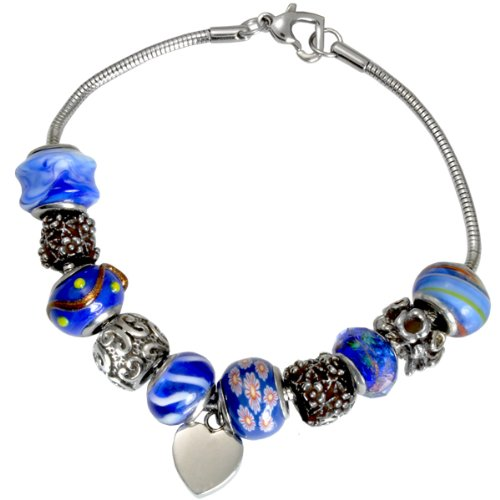 Memorial Gallery Nightfall Blue Remembrance Bead Pet Heart Urn Charm Bracelet, 8'' by Memorial Gallery
