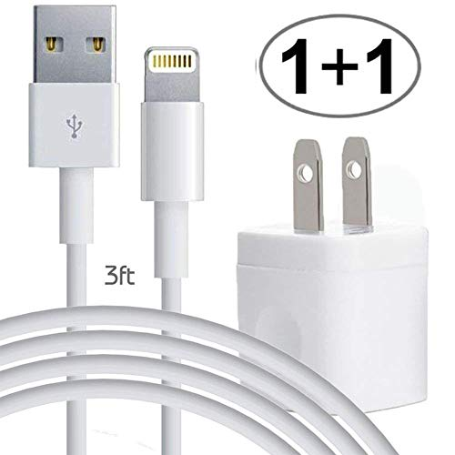 iPhone USB Certified Cable, 3ft Charger Data Sync 8pin Lightning Cord with Power AC Wall Plug Brick, Compact Travel Home Office Adapter, fits apple iPad 2 3 4 Air iPod ()