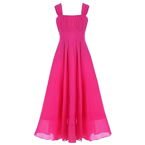 Big Girls Ruched Flower Lace Chiffon A-line Dress Pageant Wedding Bridesmaid Dance Party Gown Maxi Girl Long (Halloween Party For 10-11 Year Olds)