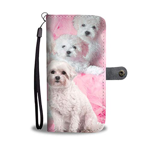 Price comparison product image Dog Print Phone Case,  Cute Bolognese Dog Print Smartphone iPhone Wallet Case. Stunning Faux Leather Wallet Phone Cover / Stand for Samsung Galaxy,  iPhone 6 / 7 / 8 / X with RFID Protection