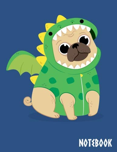 Notebook: Cute Composition Book Journal, The cover is Cute-pug-with-dragon-costume  - 8.5 x 11 Inch 100 pages. ()