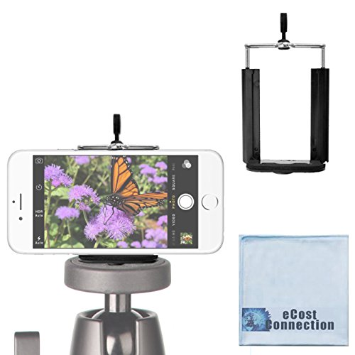eCostConnection Universal Tripod Smartphone Mount fits Virtually All Phones + eCostConnection Microfiber Cloth