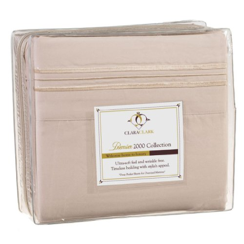 Clara Clark 2000 Collection Micro Silk Bed Sheet Set, King Size, Cream Beige (Clara Clark Silk Sheets)