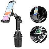 [Upgraded] Car Cup Holder Phone Mount Adjustable Automobile Cup Holder Cell Phone Cradle Car Mount Compatible for iPad 11 Pro/XR/XS Max/X/8/7 Plus/6s/Samsung S10+/Note 9/S8 Plus/S7 Edge