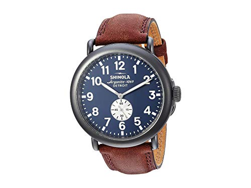 Shinola Detroit Runwell 47mm Blue Dial/ Gun Metal, Grizzly Leather Strap S0120065287