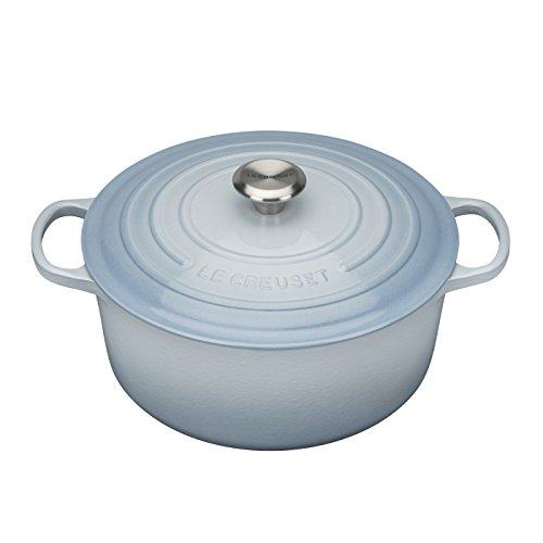 Enameled Italian Kitchen Dutch Oven - Le Creuset Enameled Cast-Iron 5-1/2-Quart Round French Oven, Coastal Blue