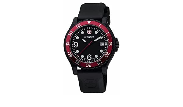 Amazon.com: Wenger Ranger Black Dial / Black Rubber Strap Watch: Wenger: Watches