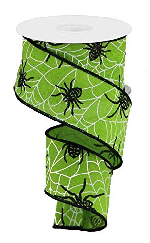 Spiders & Webs Wired Edge Ribbon, 10 Yards (Lime Green, -