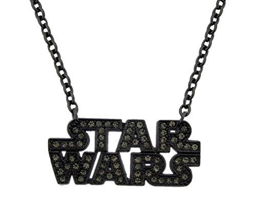 Star wars Logo Text Gun Metal Rhinestone Pendant