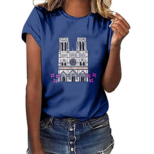 Women's Graphic T-Shirt- Notre Dame de Paris Print Tees Summer Casual Loose Short Sved Tops Blouse