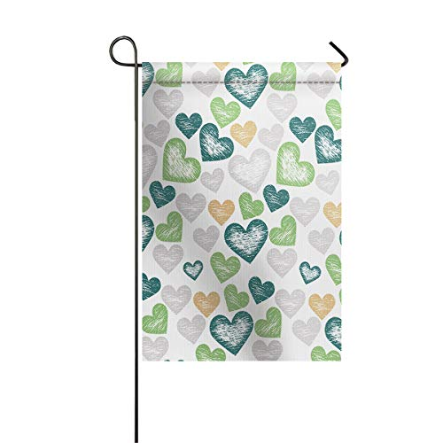 Garden Flags House Banner Decorative Flags Home Outdoor Valentine, Romantic Heart Shapes Doodle Sketch Love Theme Anniversary Artful Illustration, Welcome Holiday Yard Flags, Double Sides 28 x 40inch