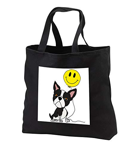 - All Smiles Art - Funny - Cute Funny Boston Terrier Puppy Dog with Smiley face Balloon - Tote Bags - Black Tote Bag JUMBO 20w x 15h x 5d (tb_291187_3)