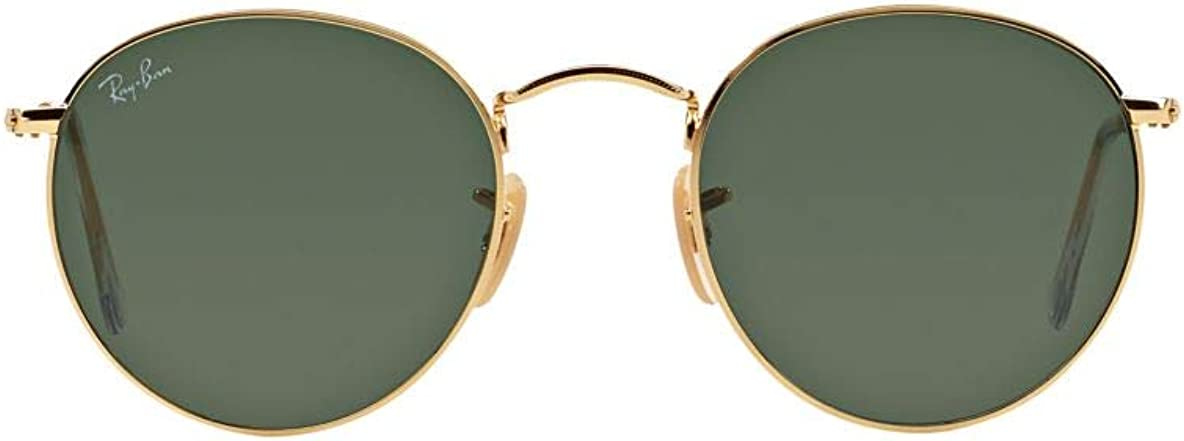 Ray-Ban RB 3447 001 - Lentes redondas de 50 mm, marco de metal dorado, color verde: Amazon.es: Ropa y accesorios