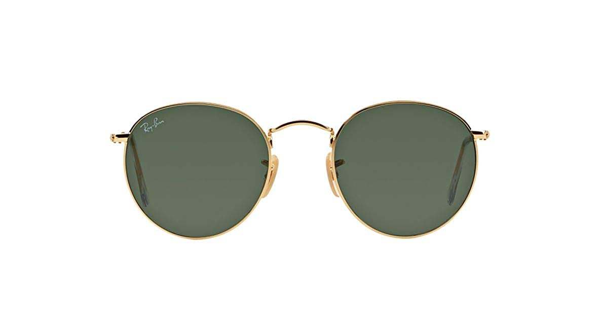 eafbc2252e Authentic Ray-Ban RB 3447 001 50mm Round Metal Gold Frame Green Lenses   Amazon.co.uk  Clothing
