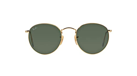 d5d7a0b5ce Amazon.com  Authentic Ray-Ban RB 3447 001 50mm Round Metal Gold Frame Green  Lenses  Clothing