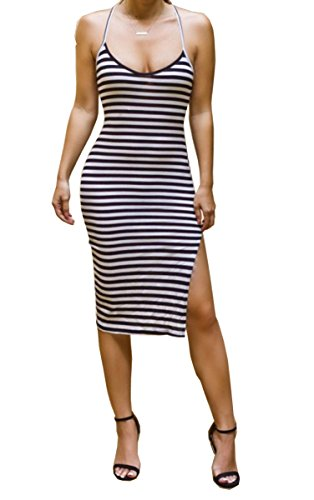 Medely 2017 Women's Sleeveless Stretch Halter Sundress Slim Summer Fold Pencil Vest Midi Bodycon Tank Club Dress Black White Size S