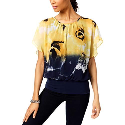 JM Collection Womens Petites Printed Blouson Blouse Yellow PS