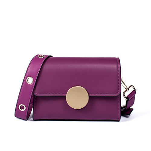 Square Shoulder Bag Retro Bag Crossbody Bag Genuine Leather Retro Women's Solid-color (color: Purple) White