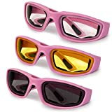 3-Pack Motorcycle Glasses – Foam Padding – Anti-Wind & Dust – Polycarbonate Lens (Pink Assorted)