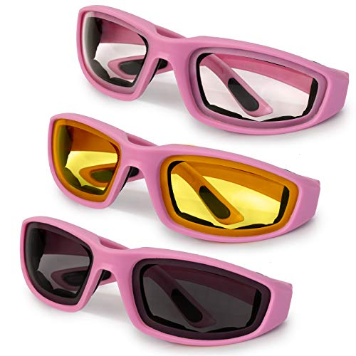 3-Pack Motorcycle Glasses  Foam Padding  Anti-Wind & Dust  Polycarbonate Lens (Pink Assorted)