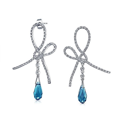 [Bling Jewelry Simulated Topaz CZ Pave Ribbon Drop Earrings Silver Plated] (Tiffany Blue Costume Jewelry)