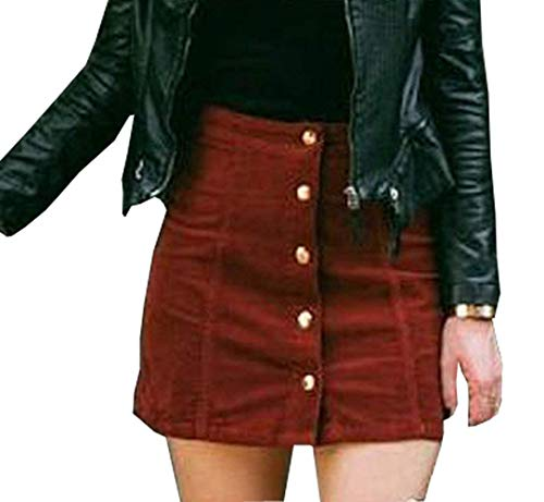 Rela Bota Women's Junior High Waist Faux Suede Button Closure Plain A-Line Mini Short Skirt Medium Maroon