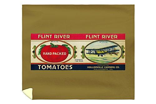 (Lantern Press Flint River Tomato Label 2076 (88x104 King Microfiber Duvet Cover))