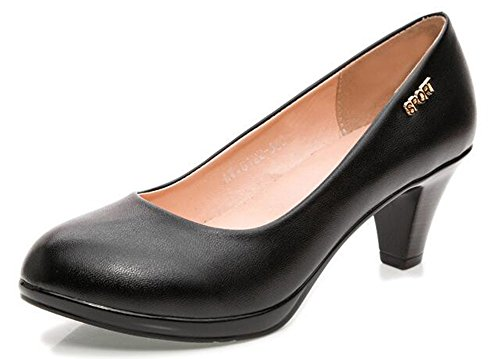 - CHFSO Women's Comfortable Solid Round Toe Slip On Low Top Mid Chunky Heel Work Pumps Black 4 B(M) US