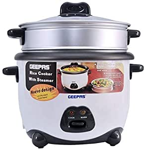 Geepas 1.8 Liter Rice Cooker with Non-stick Inner Pot(Silver and Black)