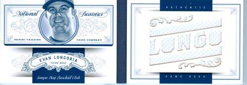 2012 Playoff National Treasures Authentic Evan Longoria Big Piece Game Worn Jersey Book