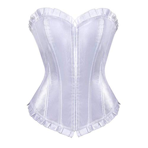 - New Plus Size Corset Top for Women Lace Up Overbust Bustier Tops Body Shaper Shapewear Waist Training Shapers(White-015 Natural Waist:38